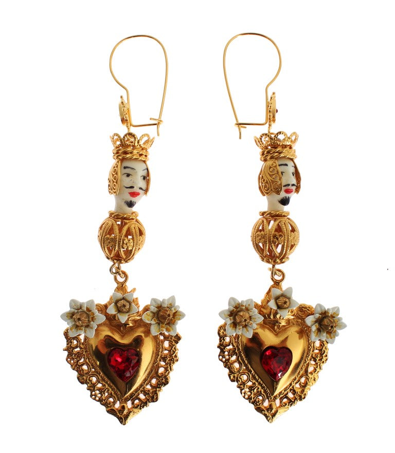 Gold Red Crystal Heart Pupi Doll Dangling Hook Earring