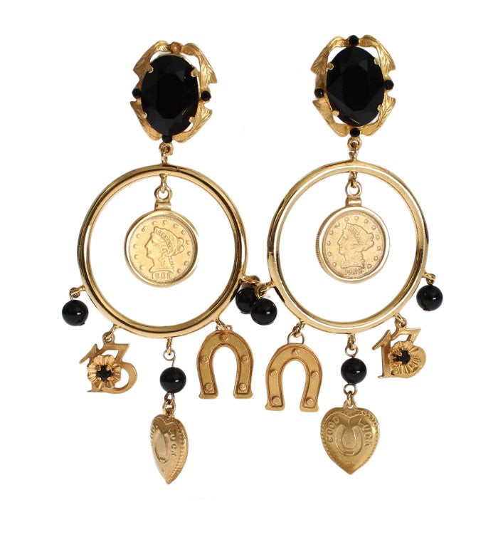 Gold Brass Sicily Charms Earrings