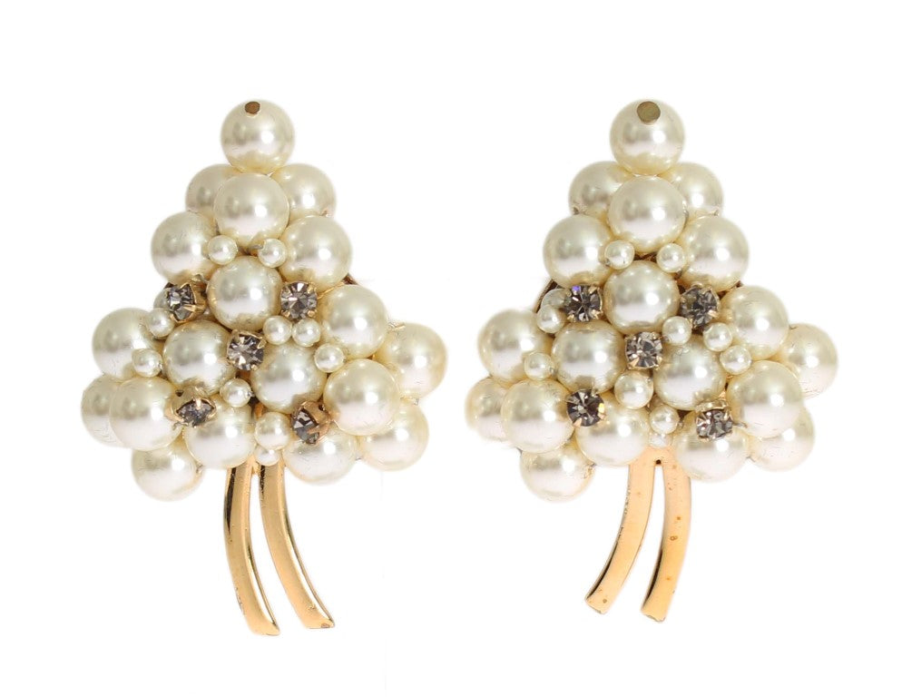 White Pearl Gold Brass ClipOn Earring