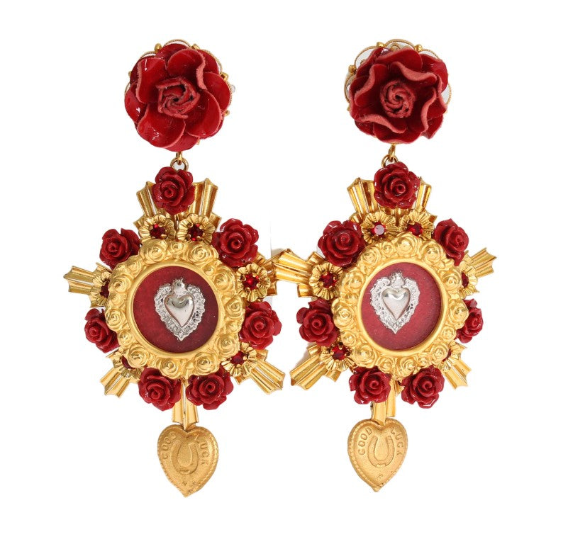 Gold Crystal Red Roses Heart Dangling Clip On Earring