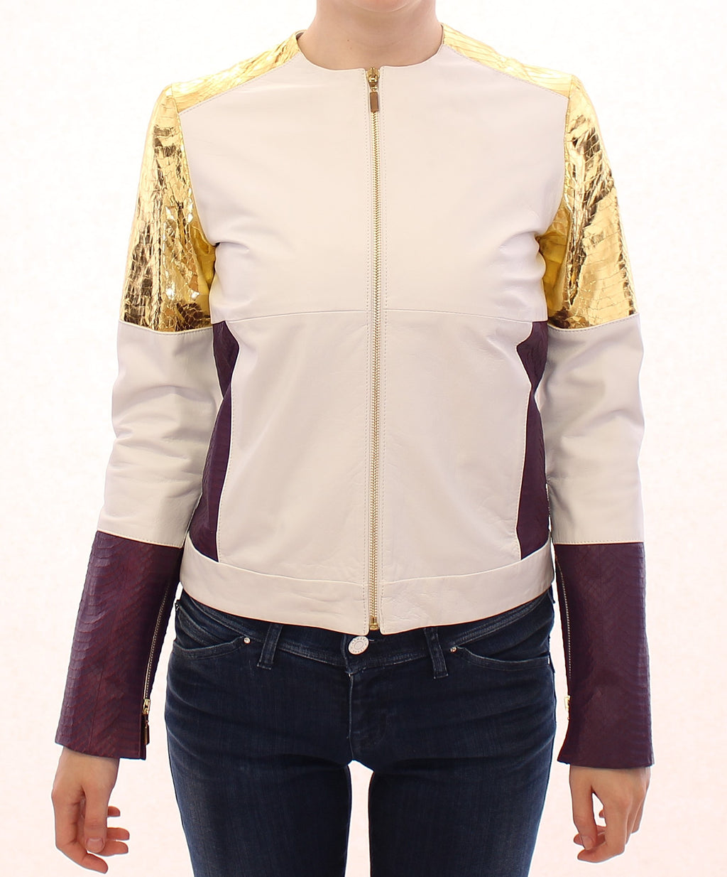 White Gold Purple Leather Jacket