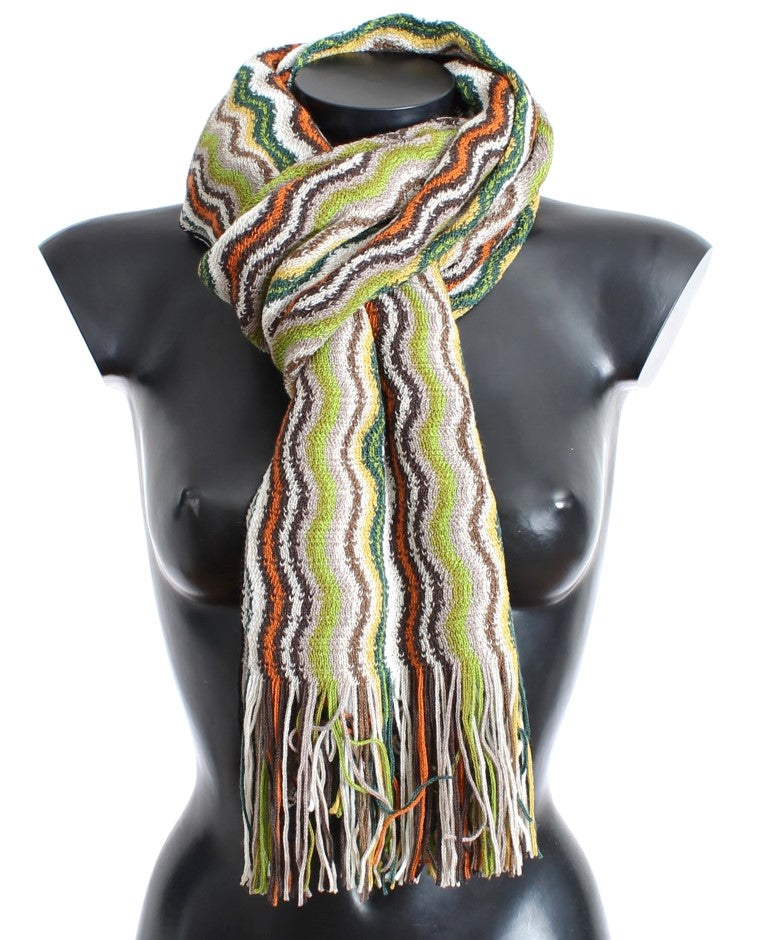 Multicolor zig zag pattern wool scarf