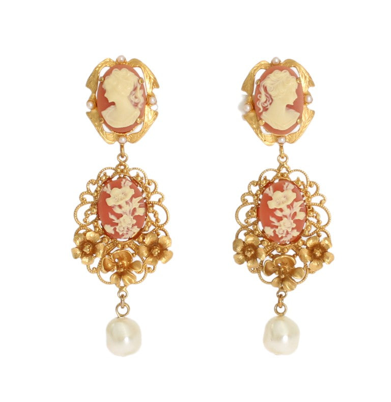 Gold CAMMEO Resin Floral Dangling Clip On Earrings