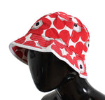 Red White Floral Cotton Beachwear Hat