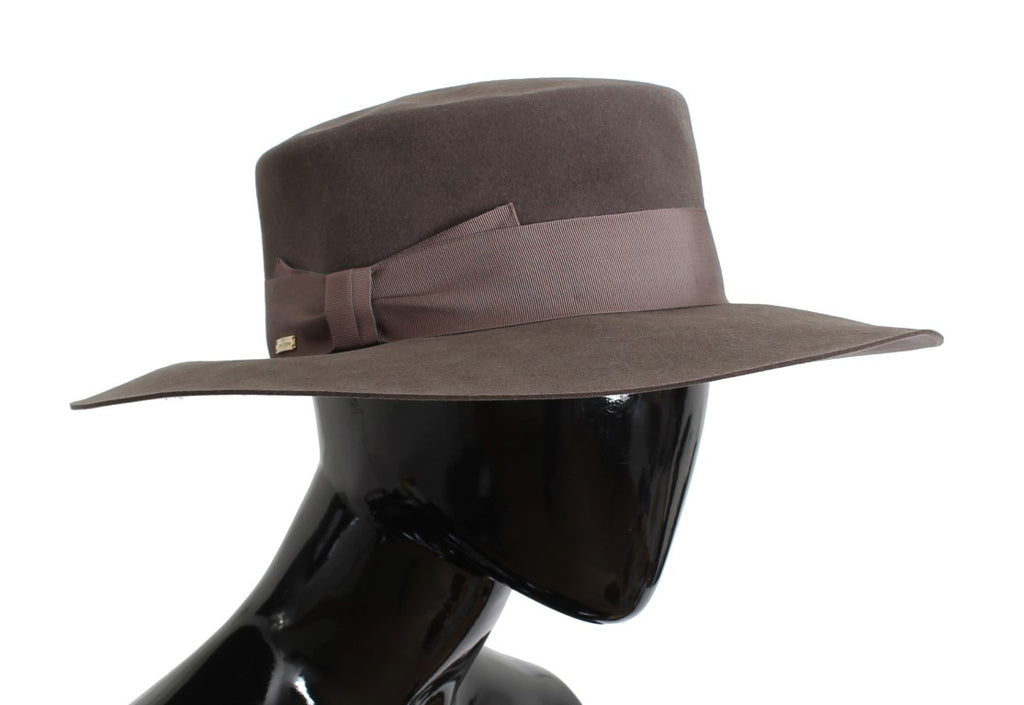 Brown Rabbit Fur Wide Brim Hat