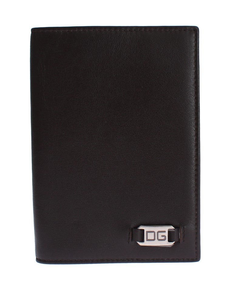 Brown Leather ID Passport Wallet Holder