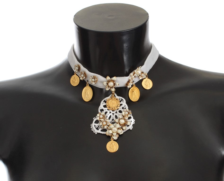 Gold Brass Floral Sicily CEREMONIA Coin Necklace
