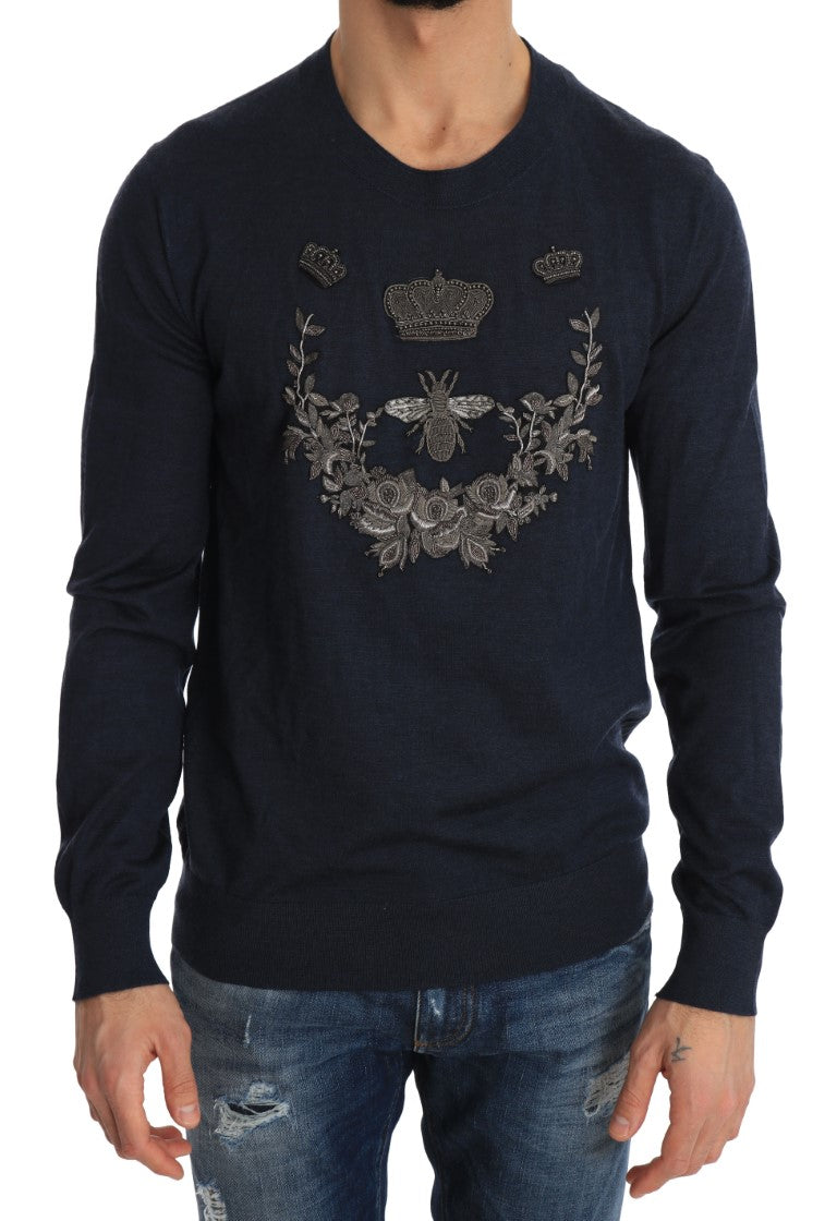 Blue Cashmere Royal Crown Bee Sweater