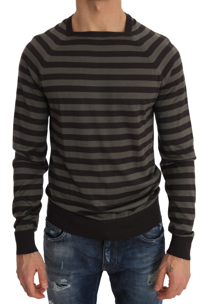 Silk Brown Green Striped Pullover Sweater