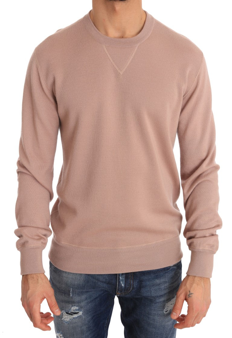 Pink Cashmere Pullover Crew-neck Sweater
