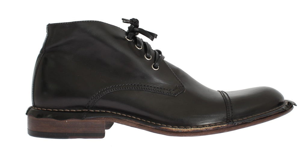 Black Leather Ankle Chukka Boots