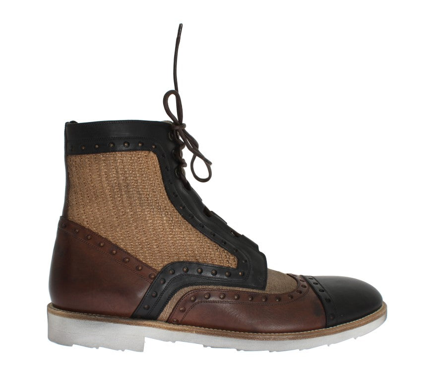 Brown Leather Jute Above Ankle Boots