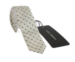 White Black Polka Dot Silk Skinny Slim Tie