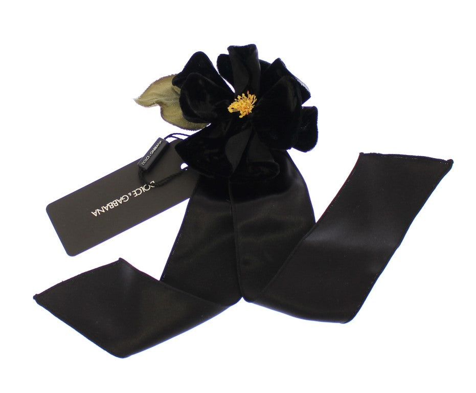Black Silk Flower Runway Brooch