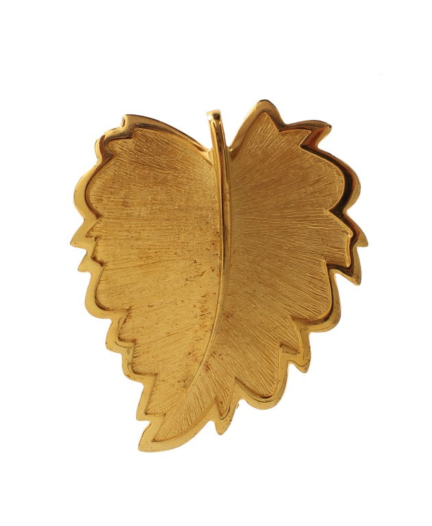 Gold Plated Brass Leaf Brooch