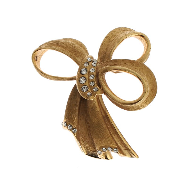 Gold Bow Crystal Stones Brooch Pin