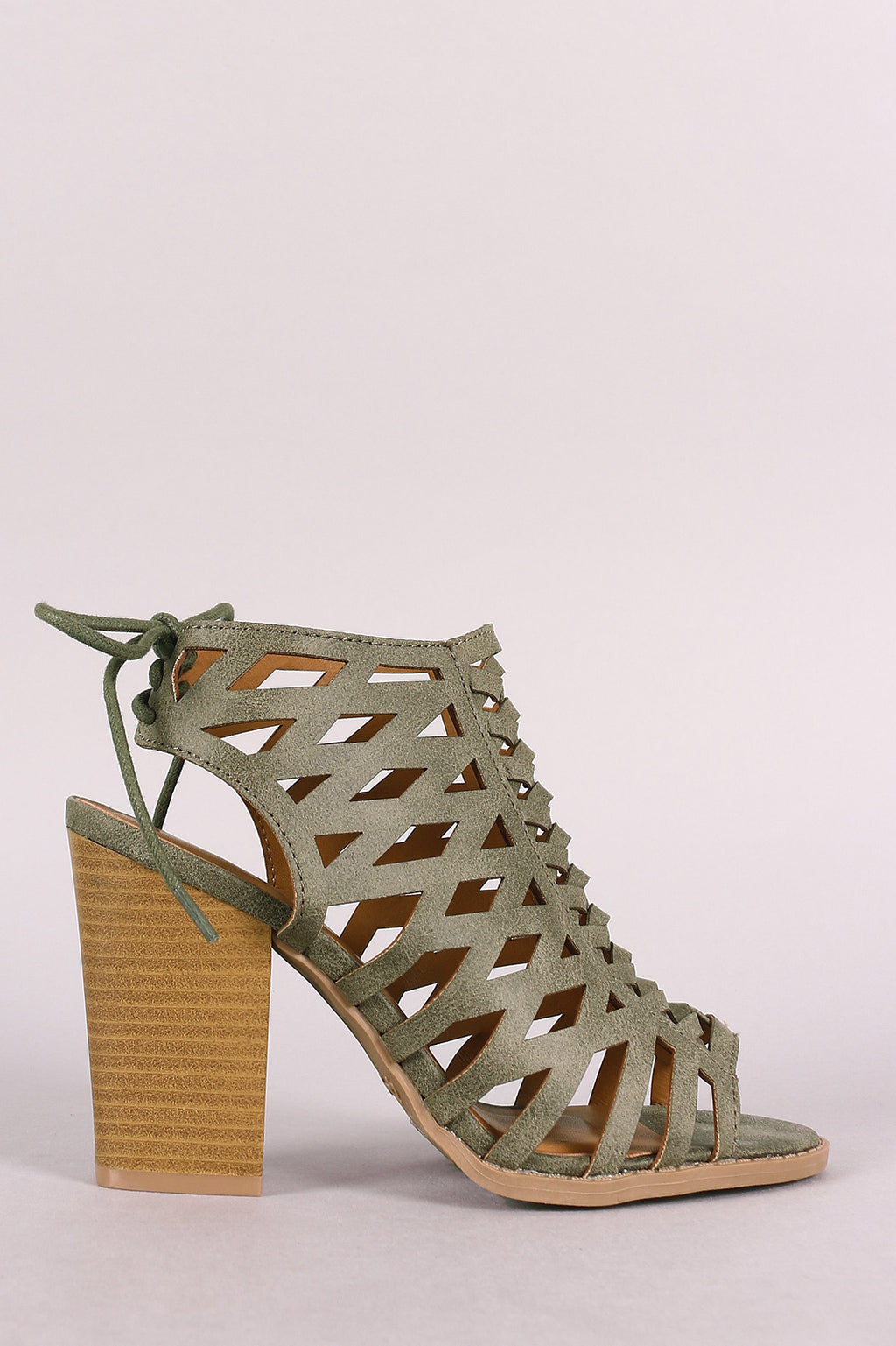 Qupid Lattice Weave Open Toe Chunky Heel Booties