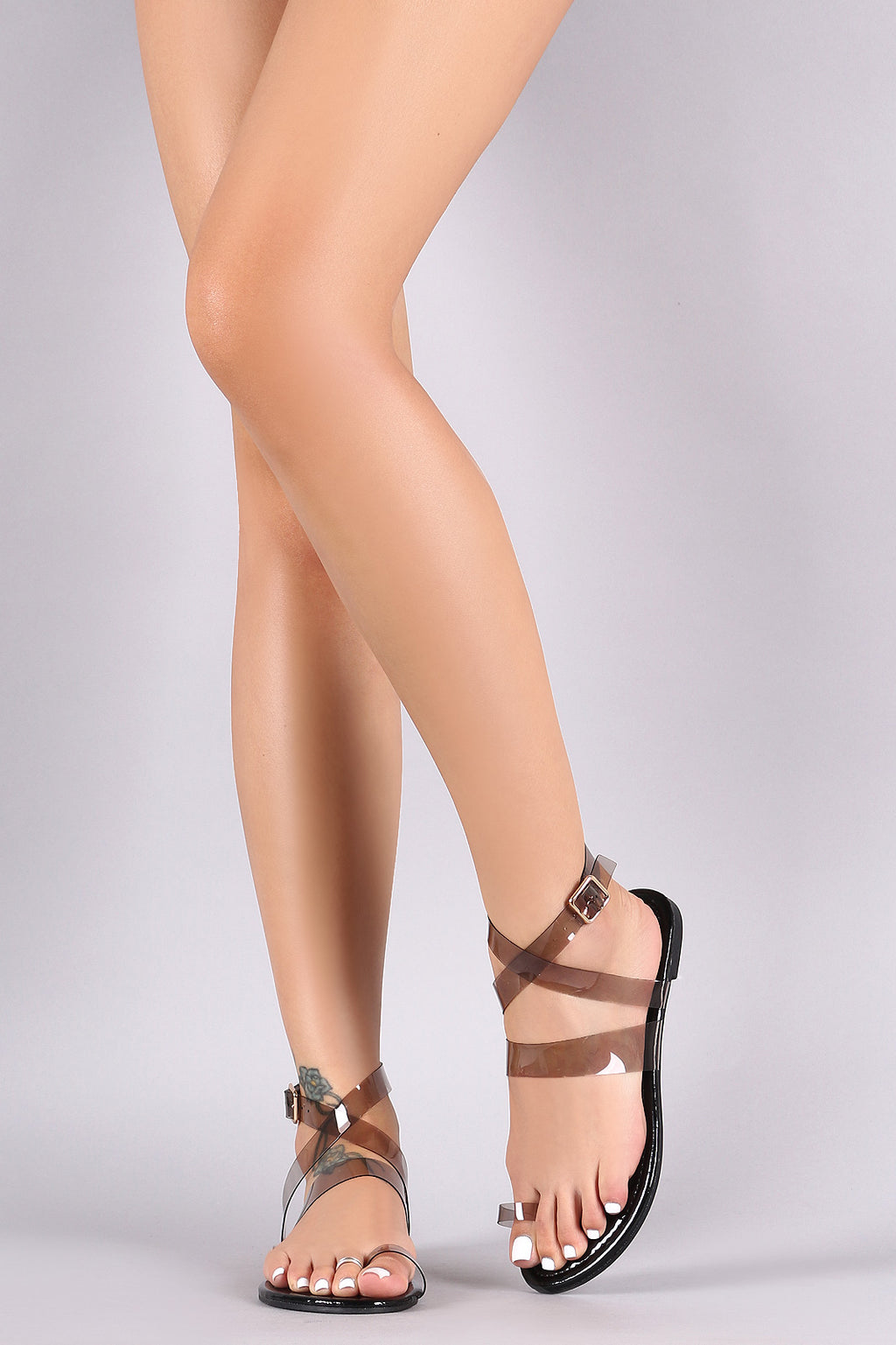 Liliana Transparent Toe Band Crisscross Ankle Strap Flat Sandal
