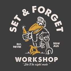 "HTW - ""SET & FORGET"" Cotton Tee Washed Black"