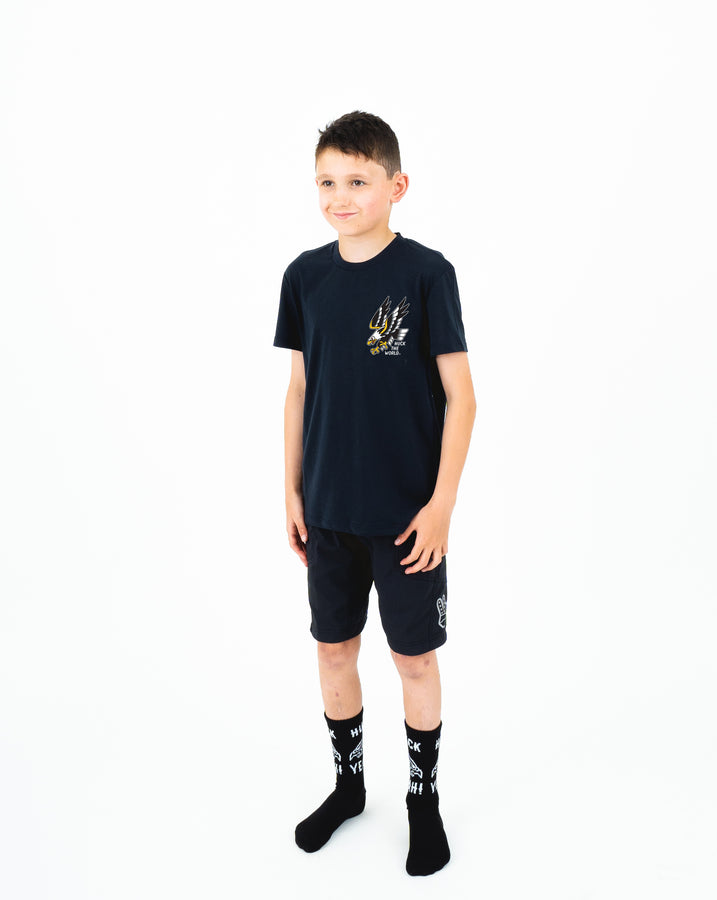 "HTW - ""FLASH EAGLE"" Youth Cotton Tee Black"