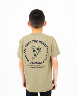 "HTW - ""Pizza"" Youth S/S Tech Ride Tee Dusty Olive"