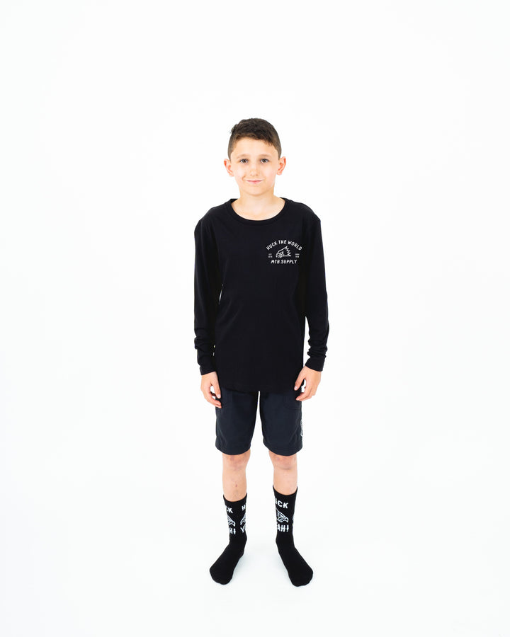 "HTW - ""Gong MTB"" Youth L/S Tech Ride Tee Black"