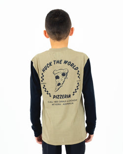 "HTW - ""Pizza"" Youth L/S Tech Ride Tee Dusty Olive/Black"