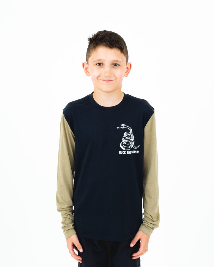 "HTW - ""Snek"" Youth L/S Tech Ride Tee Black/Dusty Olive"