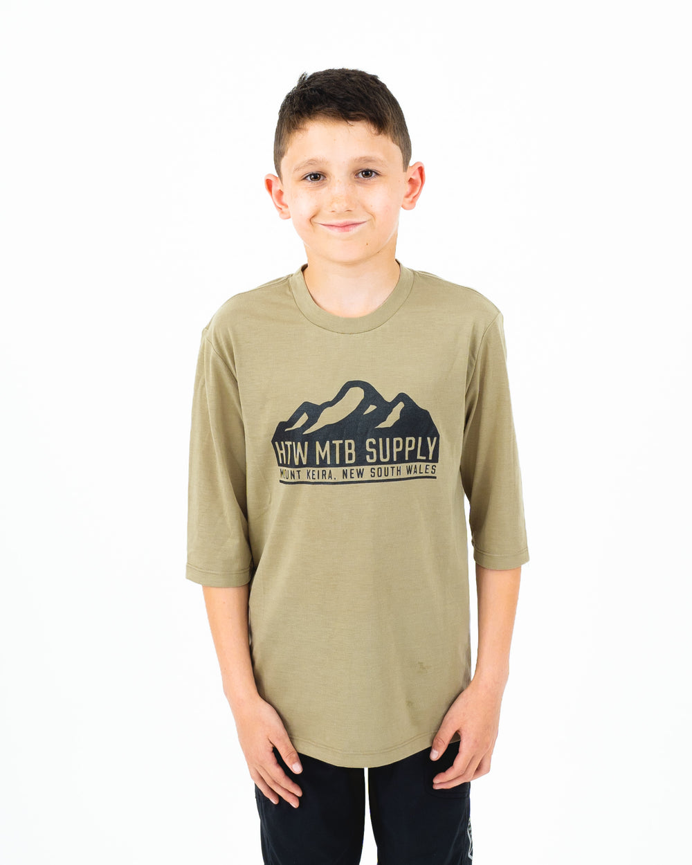 "HTW - ""Mountain"" Youth 3/4 Tech Ride Tee Dusty Olive"