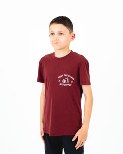 "HTW - ""Gong MTB"" Youth S/S Tech Ride Tee Maroon"