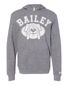 Bailey Bulldogs Youth Unisex Hoodie | Heather Grey
