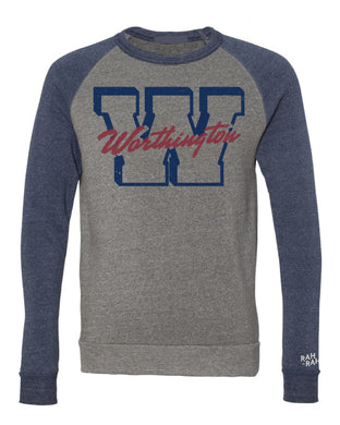 Worthington Block W Unisex Sweatshirt | Colorblock Navy/Grey