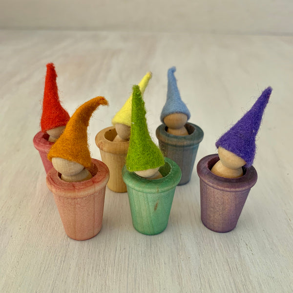 Gnome Sorting - Rainbow Wooden Toy Set