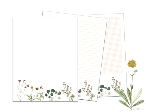 Vintage Flowers Printable Writing Paper and Graph Paper