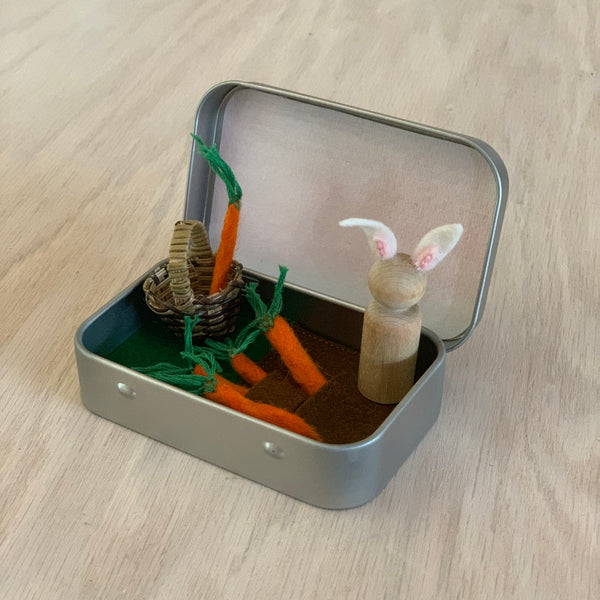 Bunny in a Carrot Garden Creative Play Tin - Juniper Earth