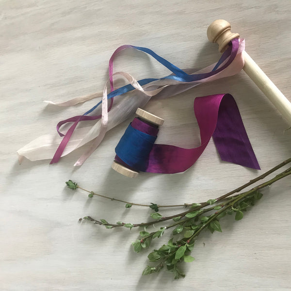 Hand Dyed Silk Ribbon in Variegated Colors. - Juniper Earth
