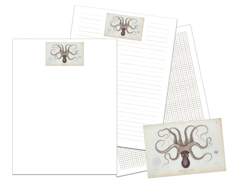 Vintage Octopus Printable Writing Paper and Graph Paper
