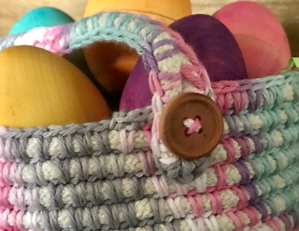 Crocheted Basket made with Cotton Yarn and Cotton Rope. - Juniper Earth