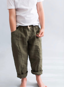 Linen Treasure Pants in Forest Green