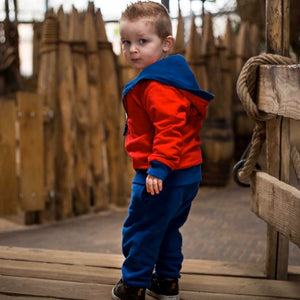 Organic Cotton Reversible Hoodie in Dancing Waves/Fire Engine