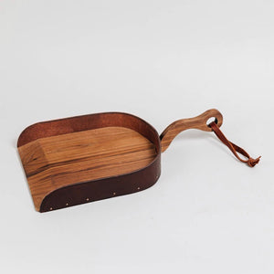 Wood and Leather Dustpan