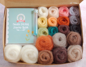 Complete  Needle Felting Kit - Natural and Animal Colors