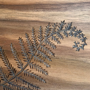 Wood Burned Walnut Cutting Board - Fern