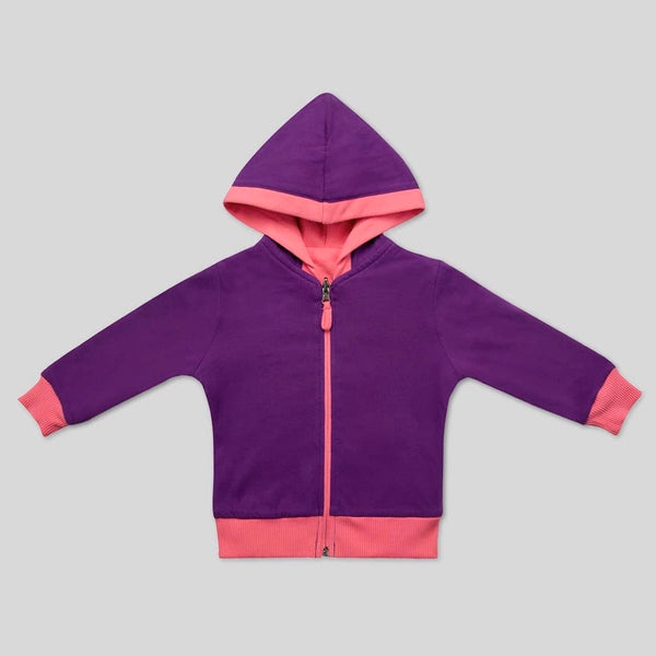 Organic Cotton Reversible Hoodie in Royal Purple/Bubble Gum
