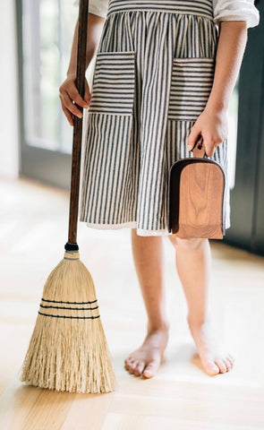 Child Size Wood and Leather Dustpan