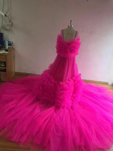 Hot pink Fuschia extra fluffy sheer dress tulle high split dress