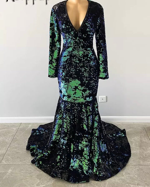 Sequin camouflage long bridal dress