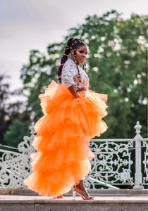 """Orange is the new black"" high low tulle skirt"