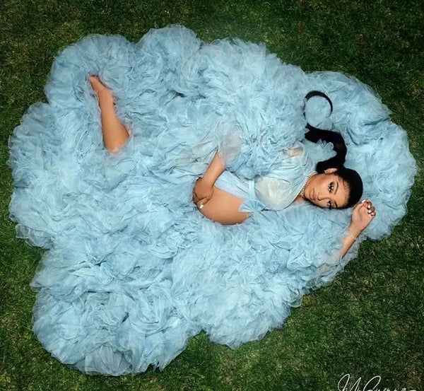 Tulle Robe Maternity  Gown