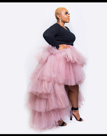 Baby pink Chichi Tulle high low skirt, tutu high low shirt